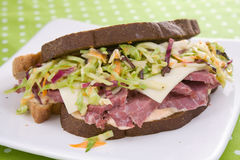 Reuben Sandwich With Coleslaw Stock Photos