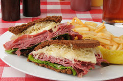 Reuben sandwich on dark rye Royalty Free Stock Images