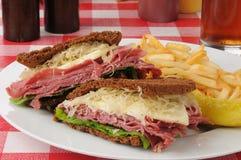 Reuben sandwich on dark rye Royalty Free Stock Images
