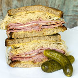 Reuben Sandwich with Dill Pickle Royalty Free Stock Photos