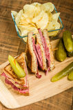 Reuben sandwich with dill pickles Royalty Free Stock Image
