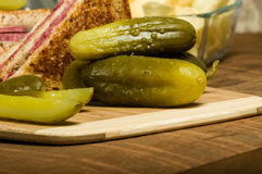 Reuben sandwich with dill pickles Royalty Free Stock Photography