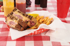 Reuben sandwich and fries Stock Photos