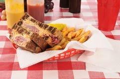 Reuben sandwich and fries Stock Photos