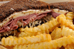 Reuben Sandwich and Fries Closeup Stock Image