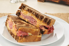 Reuben sandwich on marbled rye bread Stock Images