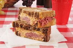 A reuben sandwich on a napkin Royalty Free Stock Image
