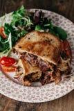 Reuben Sandwich tjänade som med sallad Royaltyfri Fotografi