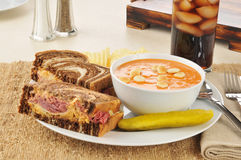 Reuben sandwich with tomato bisque soup Stock Image