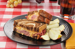 Reuben with sliced apples Royalty Free Stock Photography