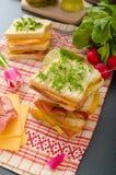 Reuben smörgås med kål, nötkött och den kryddiga dressingen Arkivfoto