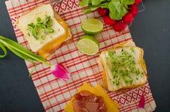 Reuben smörgås med kål, nötkött och den kryddiga dressingen Royaltyfria Foton