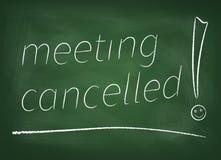 Reunião cancelada no quadro-negro Fotografia de Stock