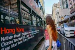Reunião com rua de Hong Kong fotografia de stock