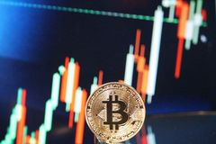 Reunião com tendência para a alta da carta de Bitcoin Imagem de Stock Royalty Free