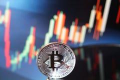 Reunião com tendência para a alta da carta de Bitcoin Fotografia de Stock