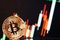 Reunião com tendência para a alta da carta de Bitcoin Imagens de Stock