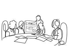 Reunião criativa da conferência de Team Brainstorming At Seminar Or do negócio, grupo de homens de negócios e mulheres de negócio ilustração do vetor