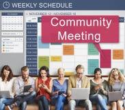Reunião da comunidade que recolhe a conferência da cooperação do planeamento concentrada imagens de stock