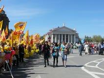 A reunião da solidariedade dos sindicatos o 1º de maio na cidade de Volgograd, Rússia fotos de stock royalty free