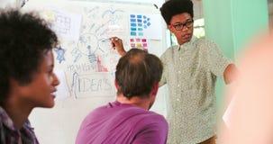 Reunião de Leading Creative Brainstorming do gerente no escritório filme