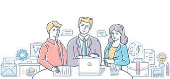 Reunião de negócios com chefe - ilustração colorida do estilo liso moderno do projeto Fotos de Stock Royalty Free