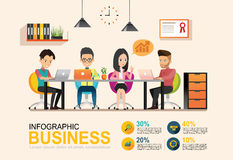 Reunião de negócios do gráfico da informação Ambiente de trabalho compartilhado Fotografia de Stock Royalty Free