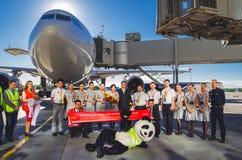 A reunião do aniversário migra Hainan Airlines 10 anos de voos ao aeroporto Pulokovo Rússia St Petersburg julho Fotografia de Stock