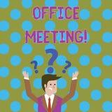 Reunião do escritório da escrita do texto da escrita O conceito que significa colegas vem junto discutir as edições ou as coisas  ilustração do vetor
