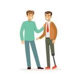Reunião dos amigos, dos dois homens que falam, do um homem com prótese do pé, do auxílio dos cuidados médicos e da acessibilidade ilustração stock