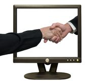 Reunião em linha Imagens de Stock Royalty Free