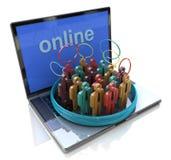 Reunião em linha Os povos falam a reunião em um speec social da rede dos meios Imagem de Stock