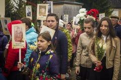 A reunião festiva de pode 9, 2017, na região de Kaluga de Rússia Imagens de Stock