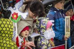 A reunião festiva de pode 9, 2017, na região de Kaluga de Rússia Imagens de Stock Royalty Free