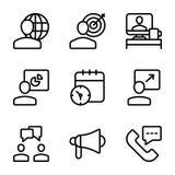 Reunião, local de trabalho, linha de comunicação empresarial ícones ilustração royalty free
