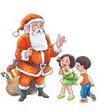 Reunião Santa dos miúdos durante o Natal ilustração stock