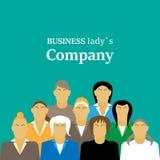 Reunião standup diária com equipe de projeto e gerente Ilustração lisa Empresa da mulher Fotografia de Stock
