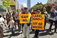 Reunión anti de la OGM. Foto de archivo libre de regalías