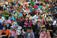 Reunión antigubernamental del grupo del ejército de gente en Bangkok Foto de archivo libre de regalías