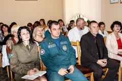 Reunión conjunta de los trabajadores del personal médico y de la emergencia de la República de Belarús en la región de Gomel Imagen de archivo libre de regalías