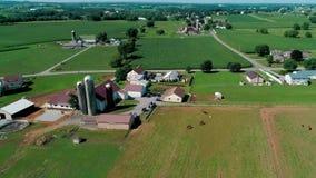 Reunión de Amish domingo en campo y tierras de labrantío según lo visto por el abejón metrajes