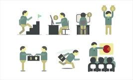 Reunión de funcionamiento del hombre de negocios y elemento infographic volume1 stock de ilustración