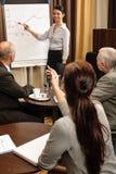 Reunión de la dirección de la mover de un tirón-carta de la punta de la mujer de negocios imagen de archivo libre de regalías