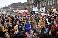 REUNIÓN de la PROTESTA del CAMBIO de clima EN COPENHAGUE DINAMARCA imágenes de archivo libres de regalías