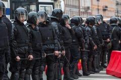 Reunión de la protesta de la oposición delante de la ceremonia de la inauguración del ` s de presidente Vladimir Putin Fotos de archivo