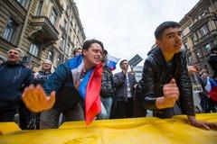 Reunión de la protesta de la oposición delante de la ceremonia de la inauguración del ` s de presidente Vladimir Putin Imagenes de archivo