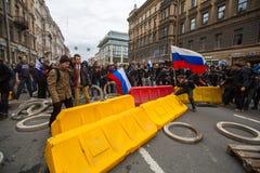 Reunión de la protesta de la oposición delante de la ceremonia de la inauguración del ` s de presidente Vladimir Putin Foto de archivo libre de regalías