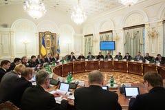 Reunión de la seguridad nacional y consejo de defensa en Kiev Imagen de archivo libre de regalías