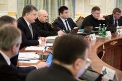 Reunión de la seguridad nacional y consejo de defensa en Kiev Imágenes de archivo libres de regalías