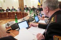 Reunión de la seguridad nacional y consejo de defensa en Kiev Imagen de archivo